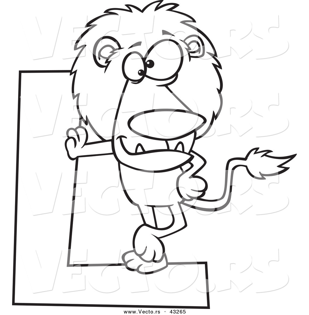 Vector Of A Cartoon Lion Leaning Against A Letter L