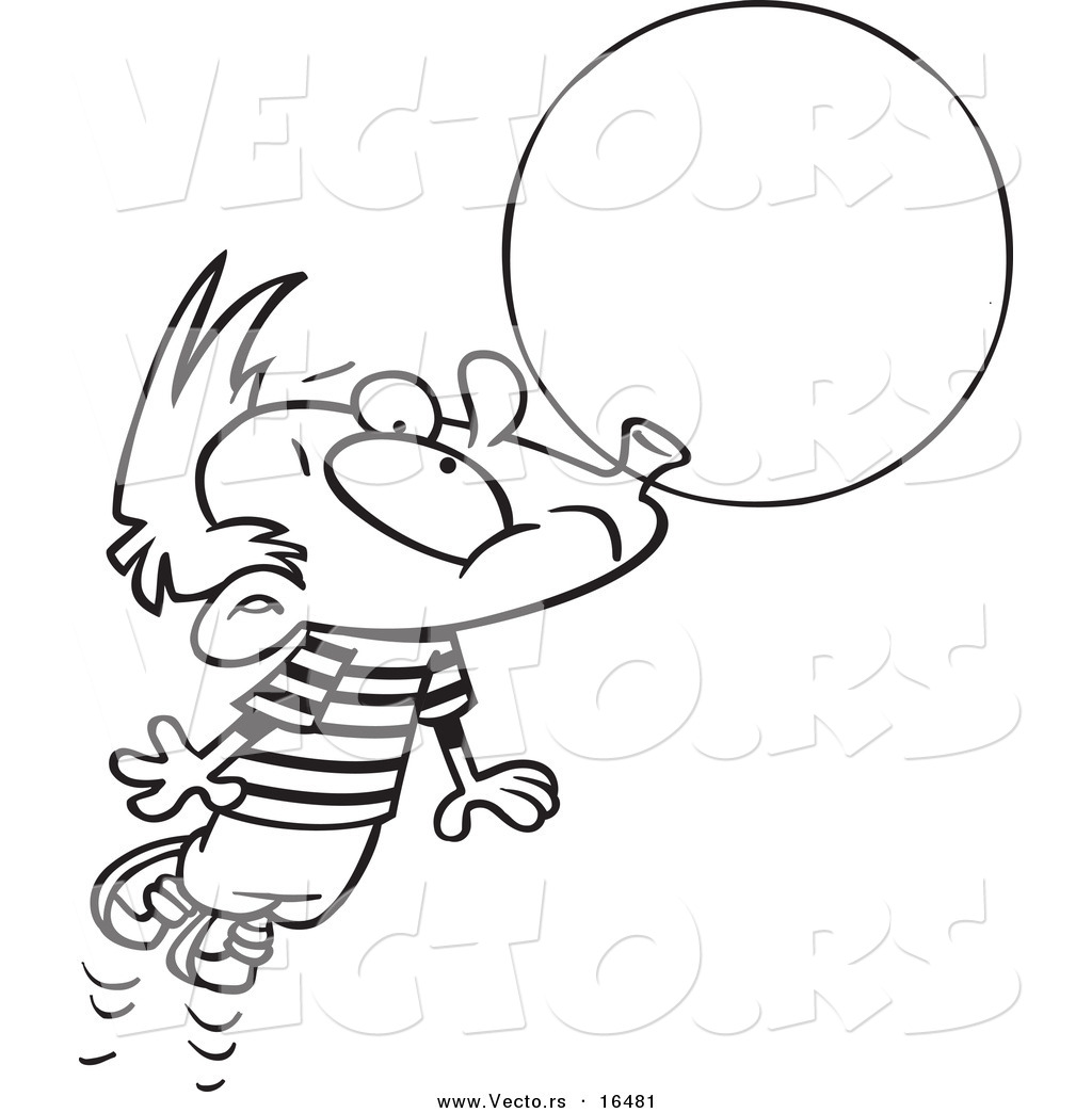 Vector Of A Cartoon Little Boy Floating Away With A Big