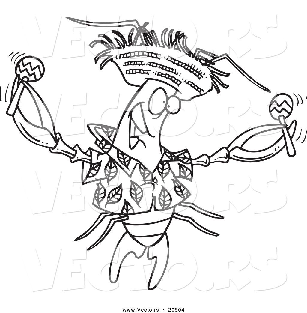 Vector Of A Cartoon Lobster Shaking Maracas