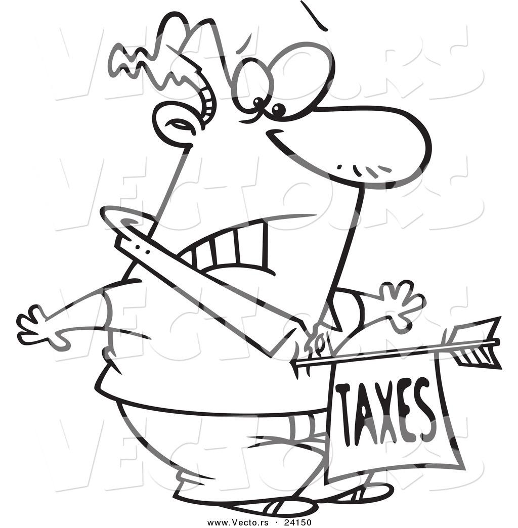 Vector Of A Cartoon Man Being Struck With A Taxes Arrow