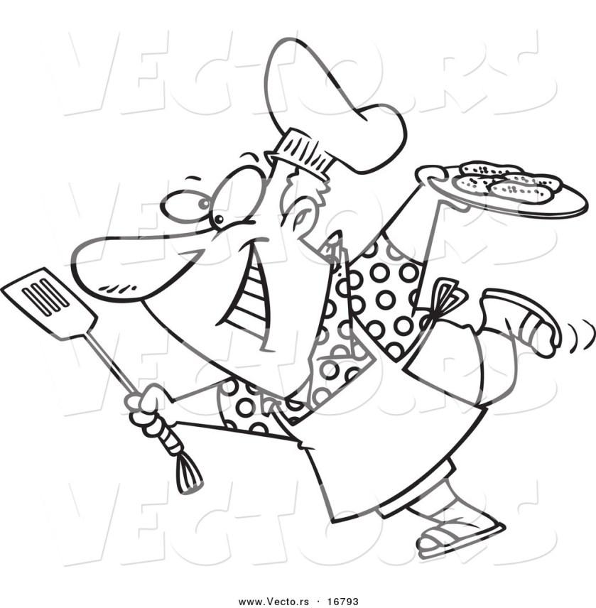 vector of a cartoon man carrying a plate of food to his