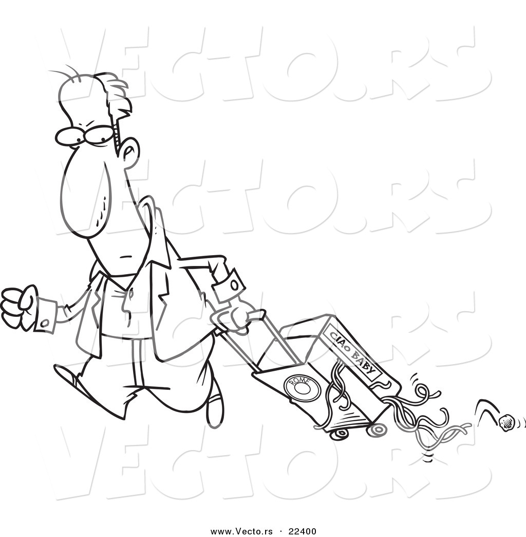 Vector Of A Cartoon Man Hauling Spaghetti In His Suitcase