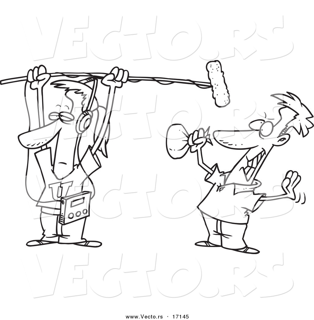 Vector Of A Cartoon Man Holding A Boom Microphone Over An