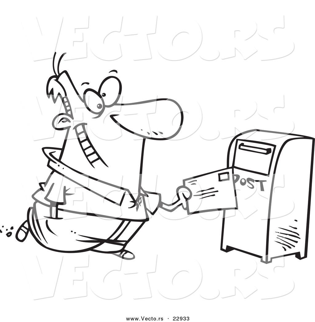 Vector Of A Cartoon Man Sending Off Mail