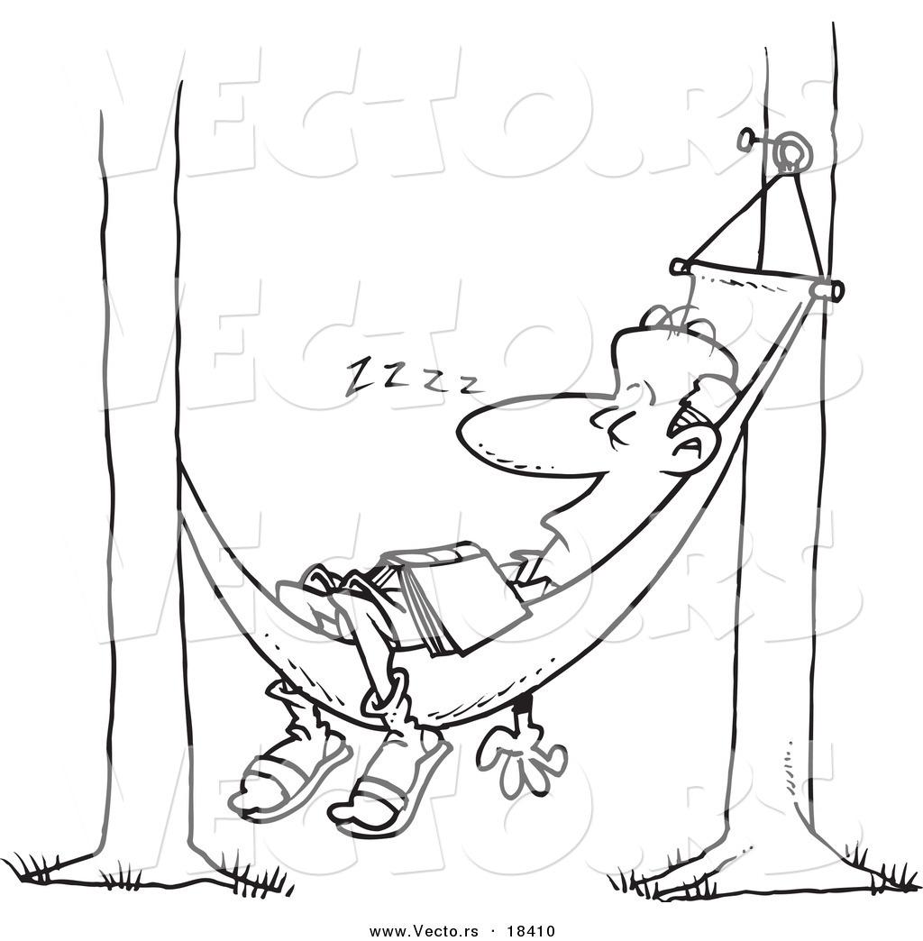 Vector Of A Cartoon Man Snoozing In A Hammock