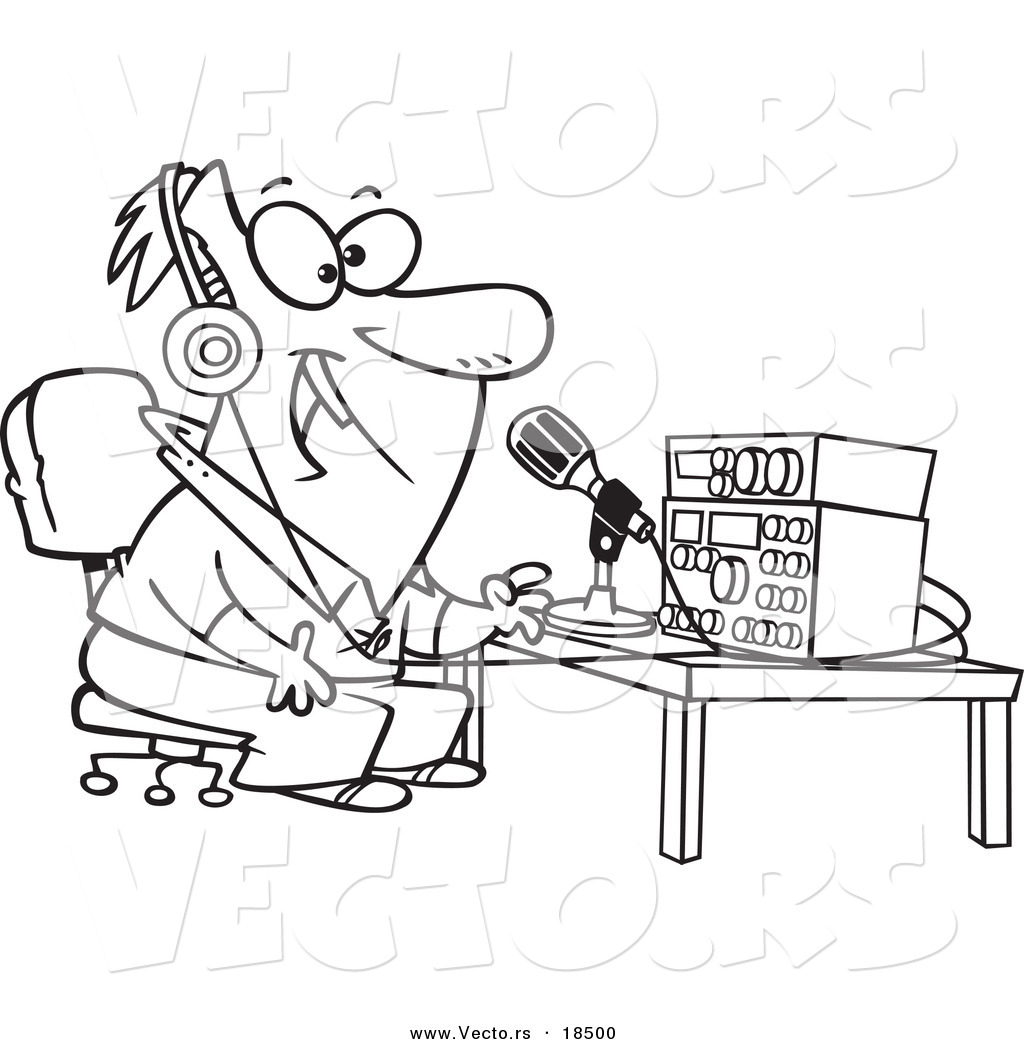 Vector Of A Cartoon Man Talking On Ham Radio
