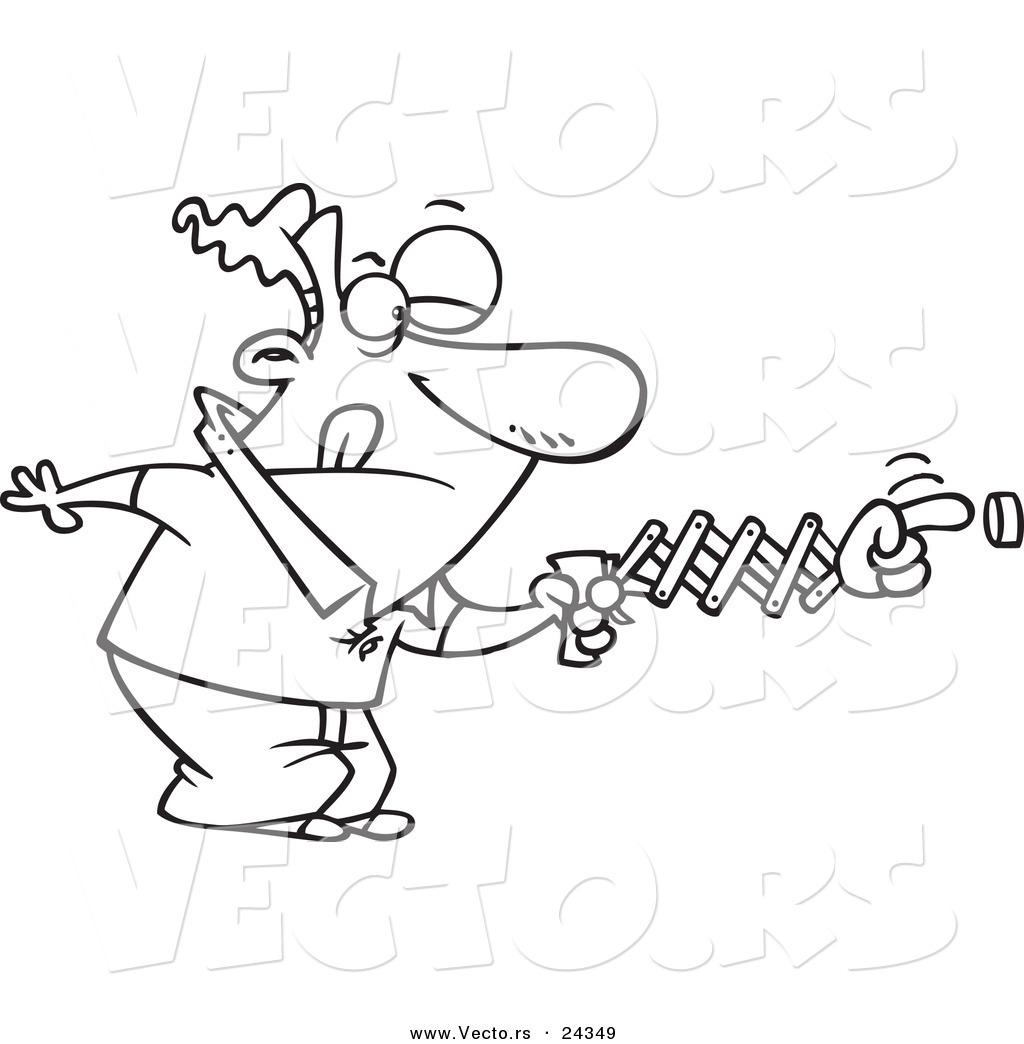 Vector Of A Cartoon Man Using A Spring Hand To Push A Button