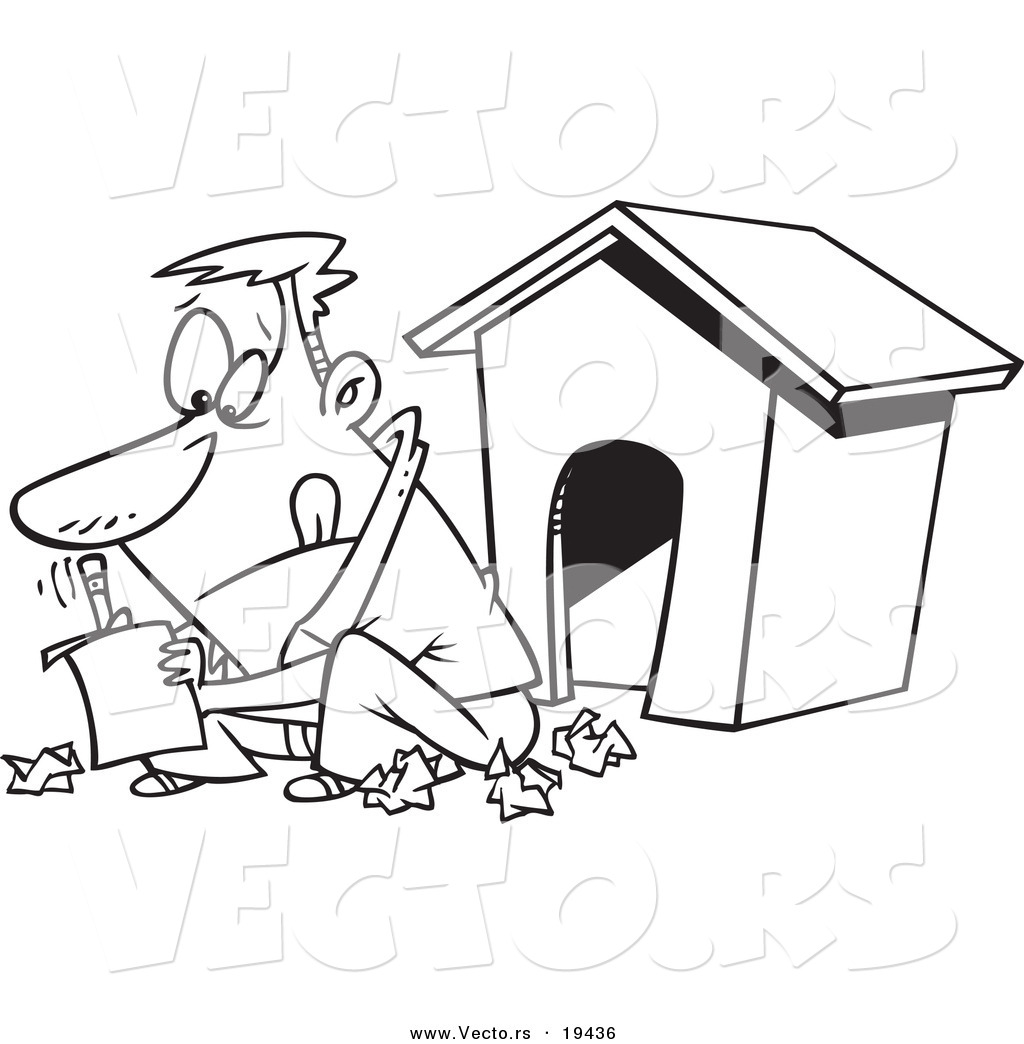 Vector Of A Cartoon Man Writing A Letter By A Dog House
