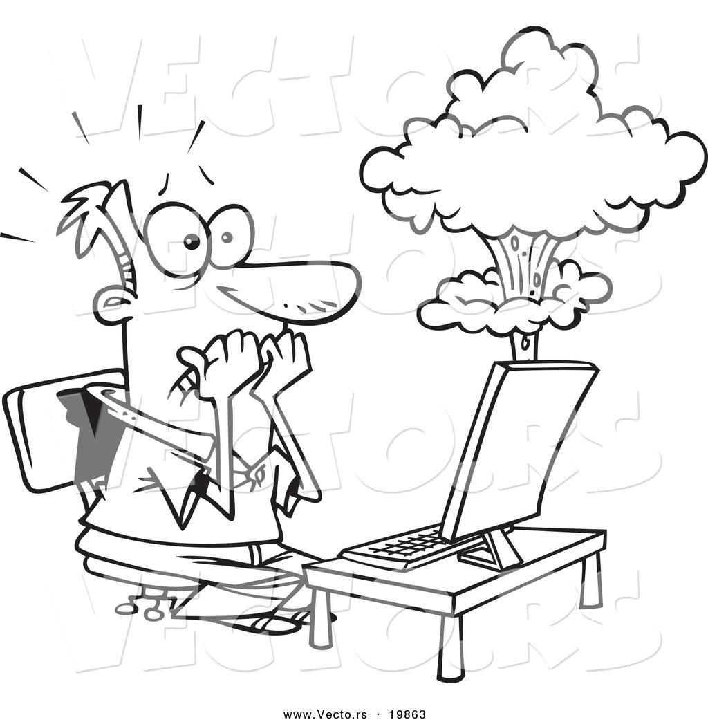 Vector Of A Cartoon Man S Laptop Having A Meltdown