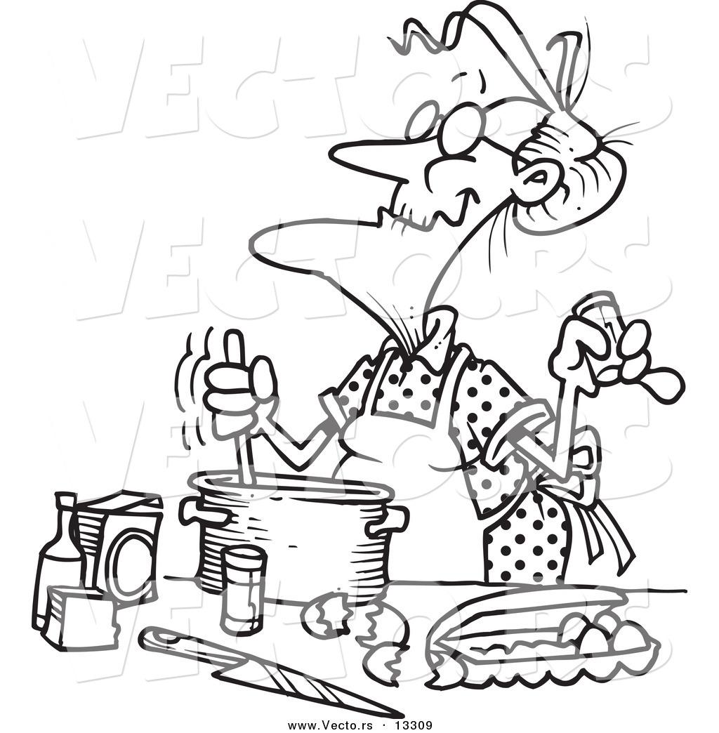 Vector Of A Cartoon Old Woman Baking