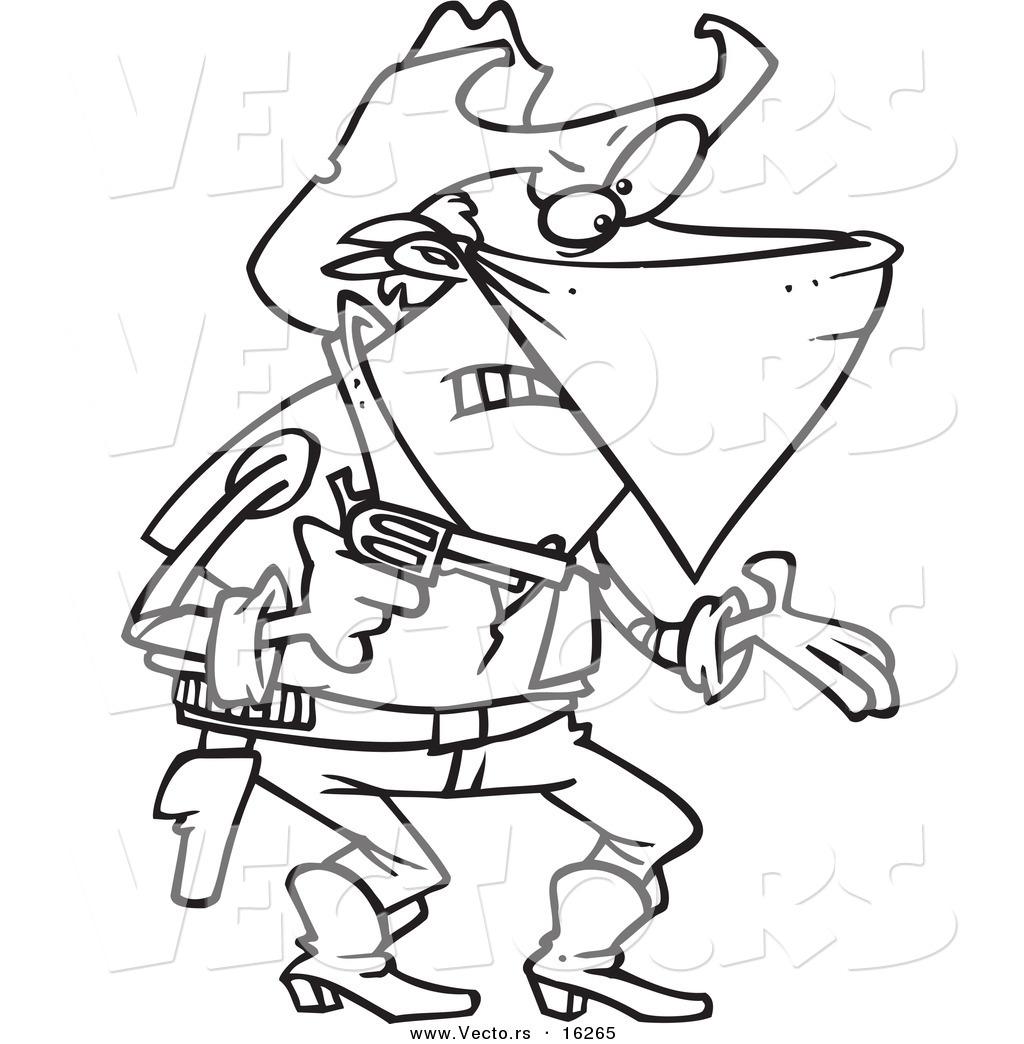 Vector Of A Cartoon Outlaw Cowboy Demanding
