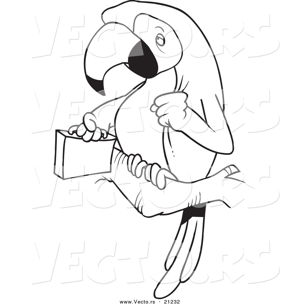 Vector Of A Cartoon Parrot Legal With A Briefcase
