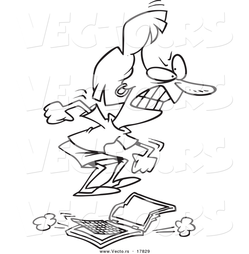 Vector Of A Cartoon Pissed Businesswoman Stomping On A Laptop