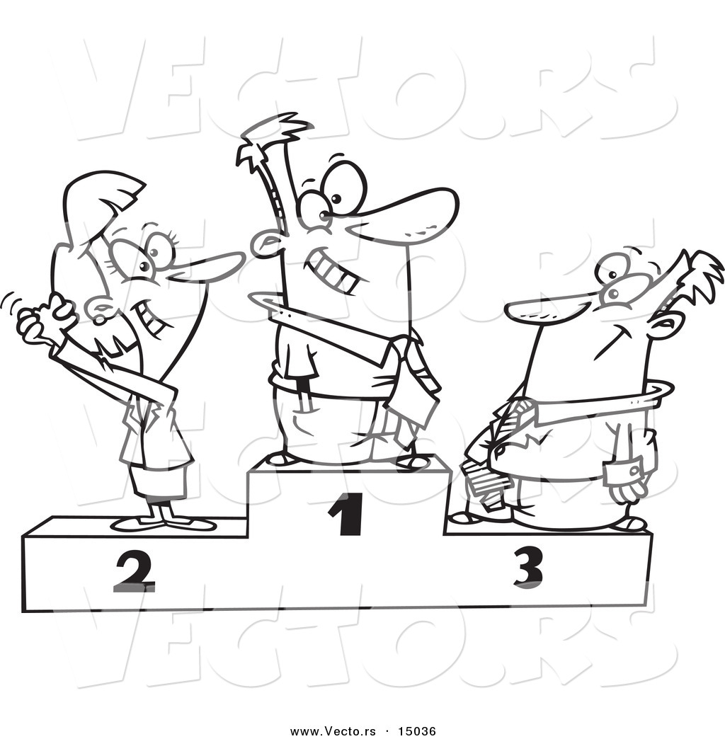 Vector Of A Cartoon Podium Of First Second And Third
