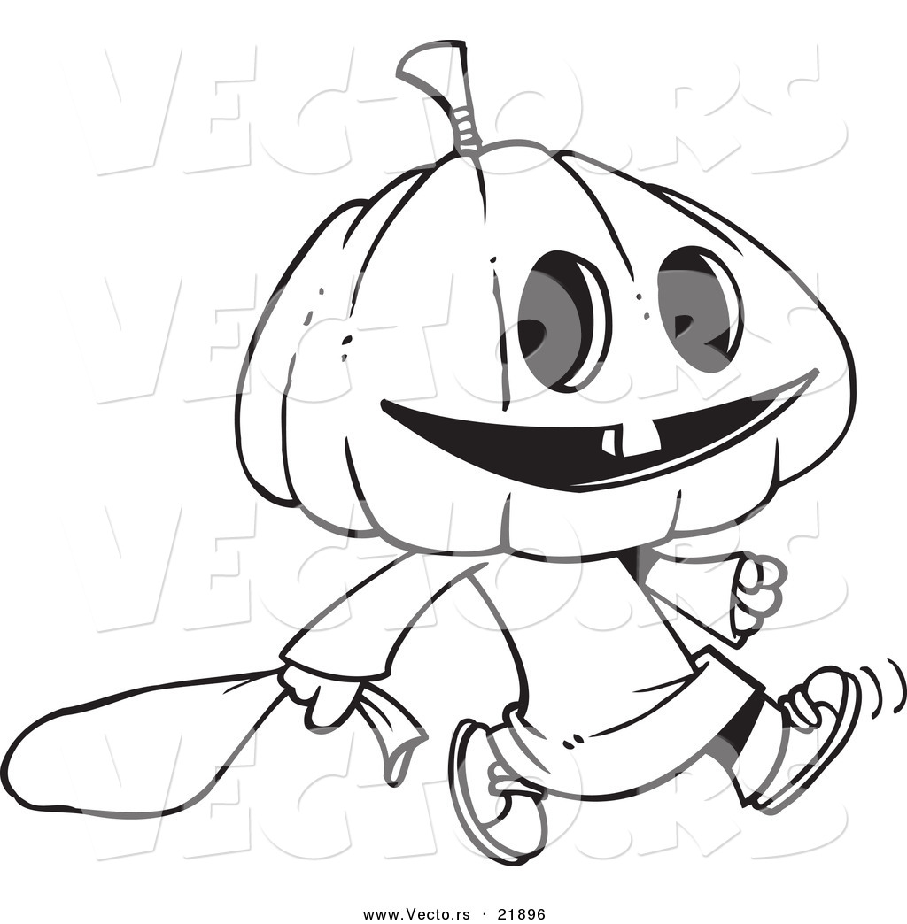 Vector Of A Cartoon Pumpkin Head Trick Or Treater
