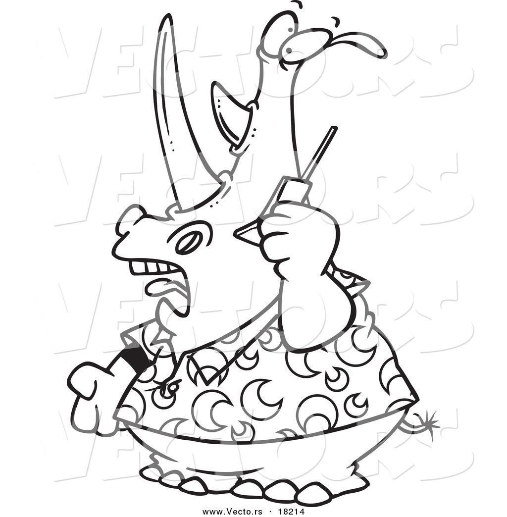 Vector Of A Cartoon Rhino Using A Cell Phone