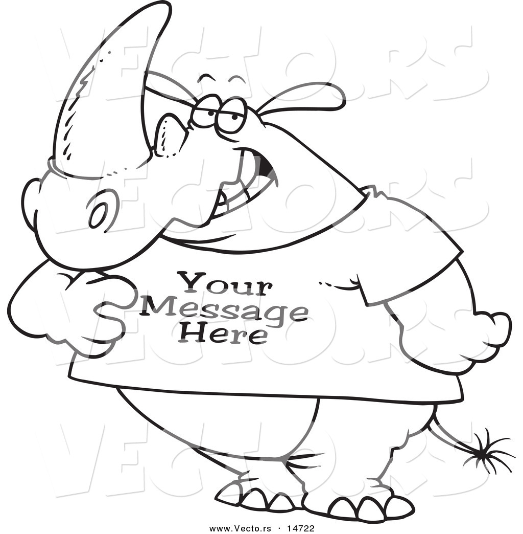 Vector Of A Cartoon Rhino Wearing A T Shirt With Sample Text