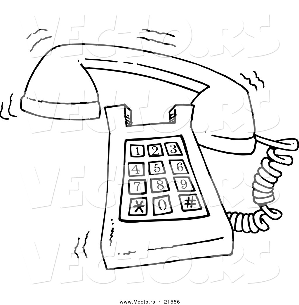 Vector Of A Cartoon Ringing Desk Phone Outlined Coloring
