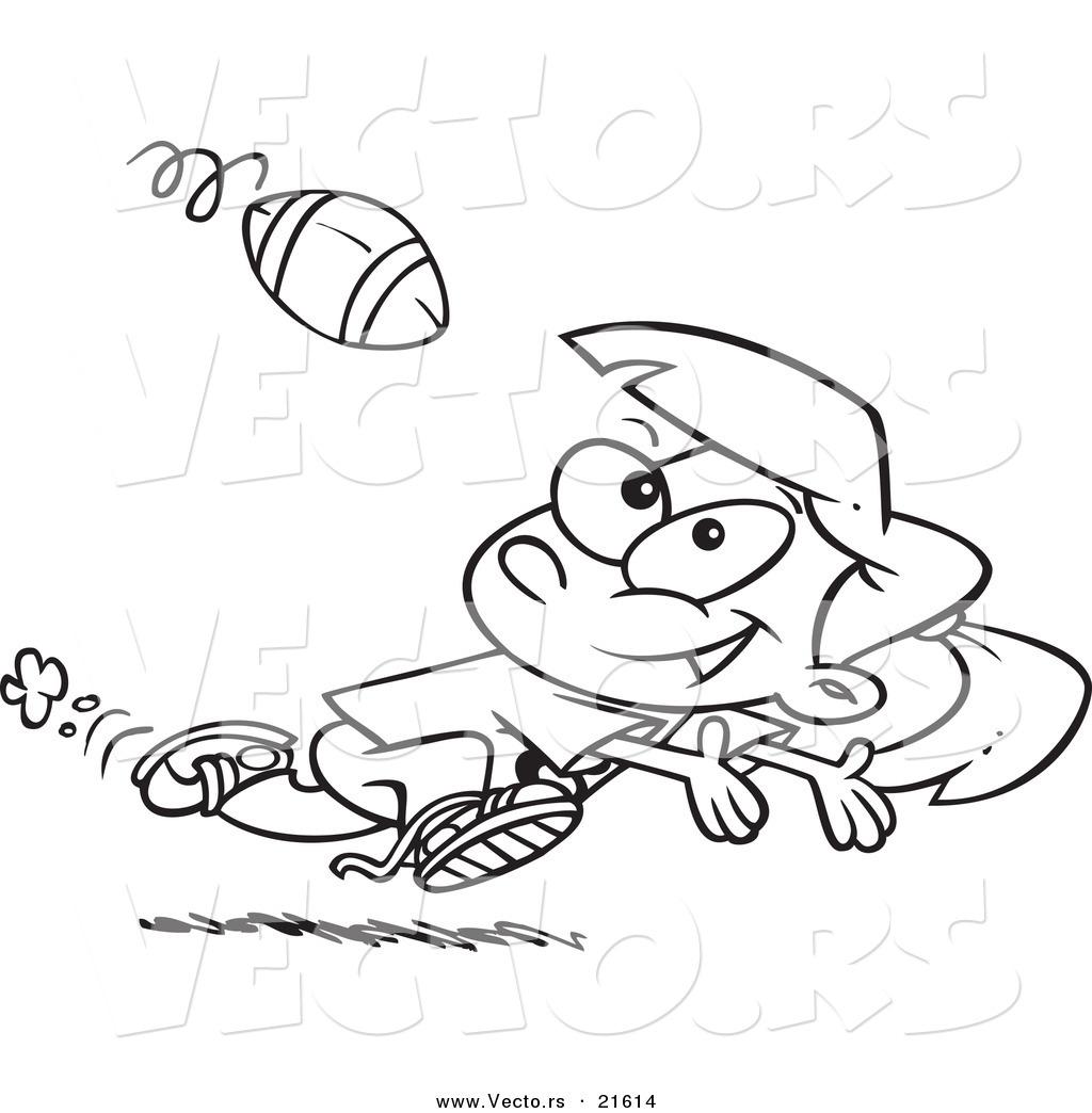 Vector Of A Cartoon Running Girl Catching A Football