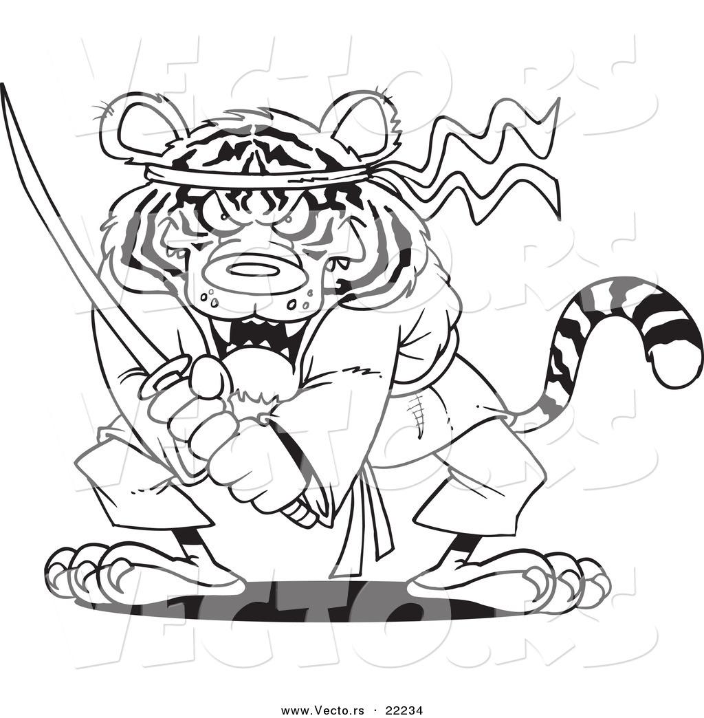 Vector Of A Cartoon Samurai Tiger With A Sword