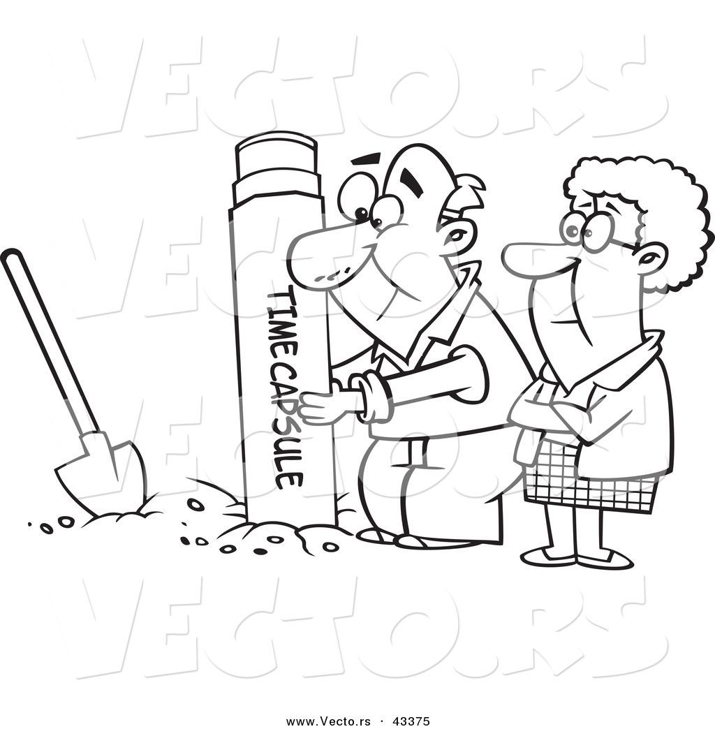 Vector Of A Cartoon Senior Couple Digging Up A Time