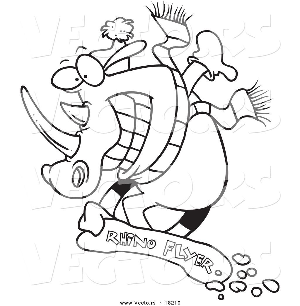 Vector Of A Cartoon Snowboarding Rhino