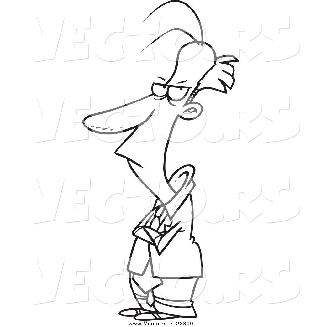 Vector Of A Cartoon Sulking Businessman