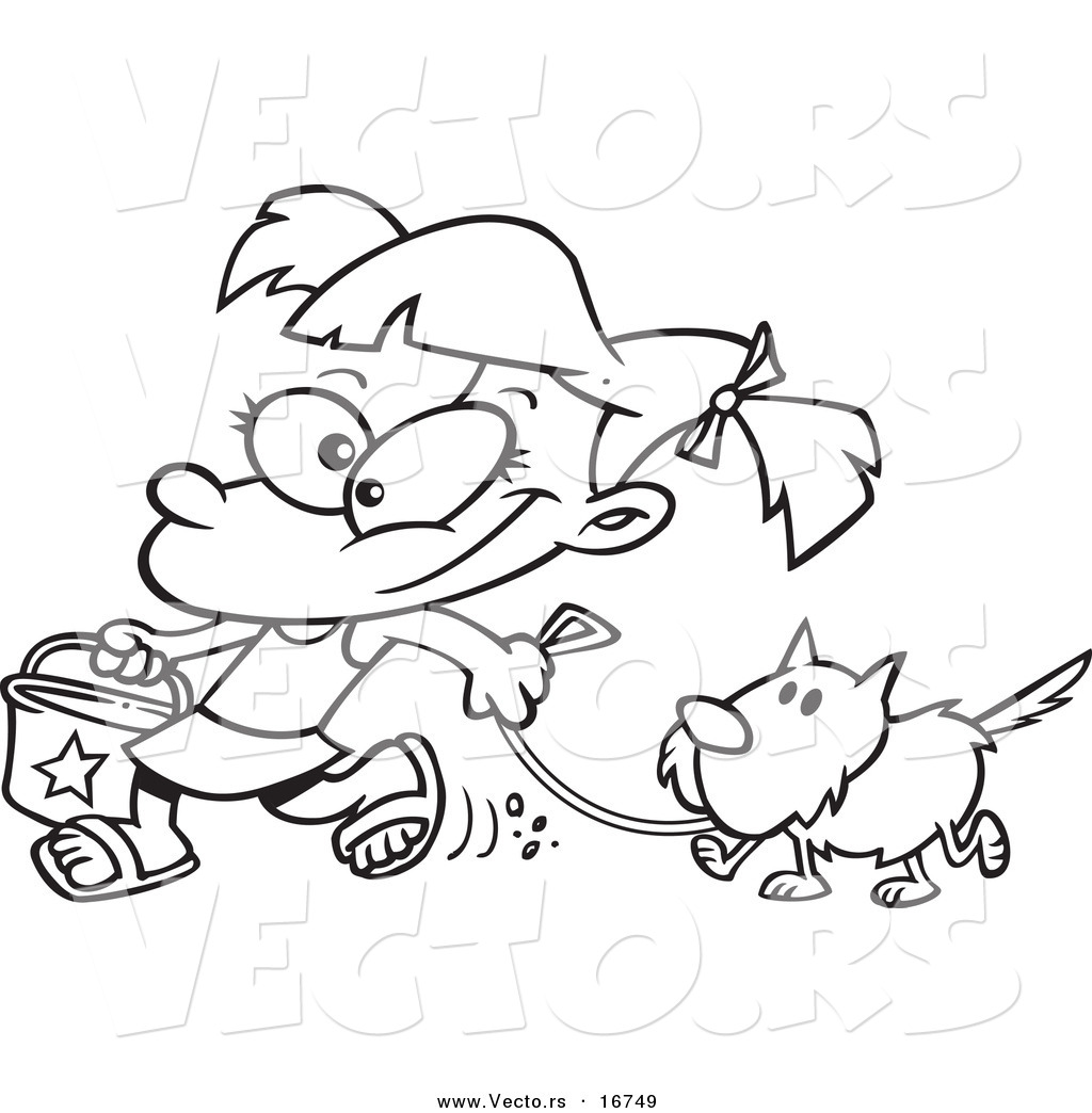 Vector Of A Cartoon Summer Girl Walking Her Dog On The Beach