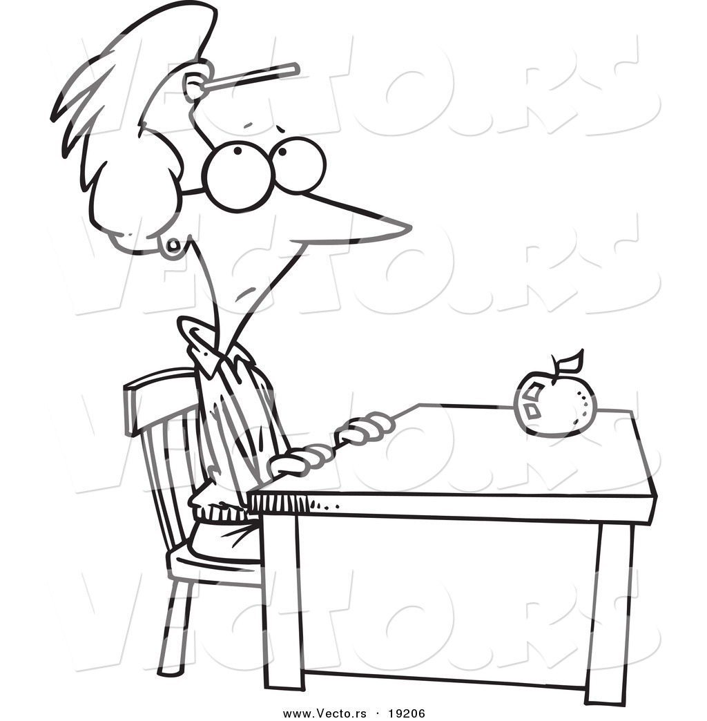 Vector Of A Cartoon Teacher Sitting At Her Desk With A