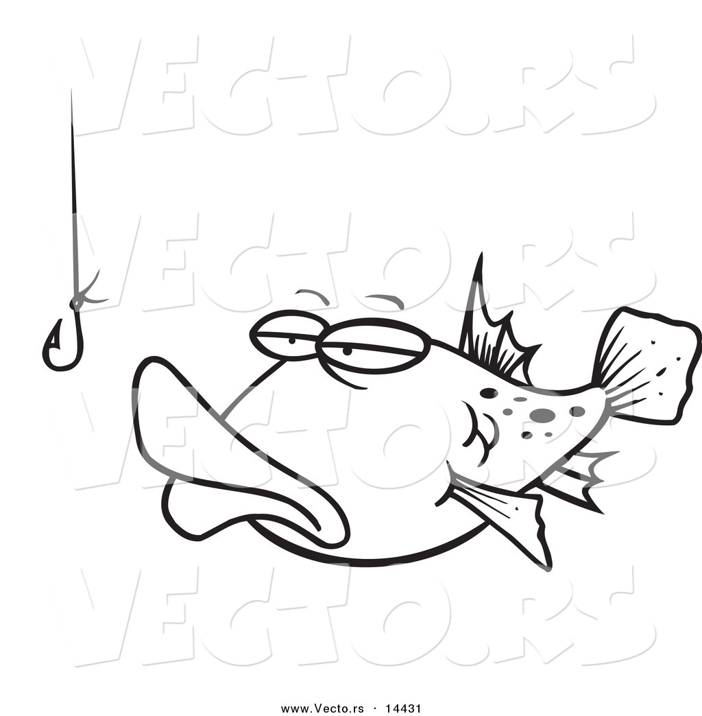 Vector Of A Cartoon Tempted Fish Staring At A Hook Coloring Page