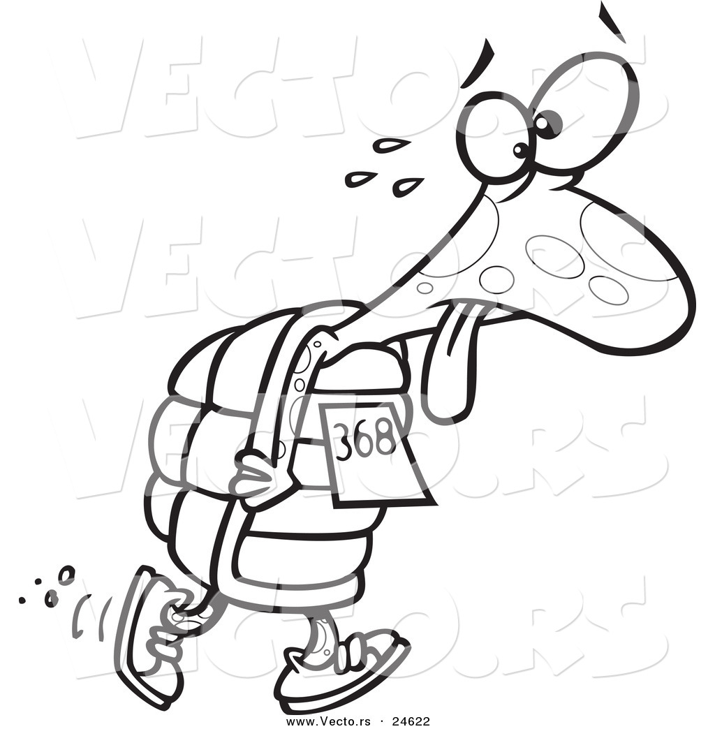 Vector Of A Cartoon Tired Tortoise Walking In A Race