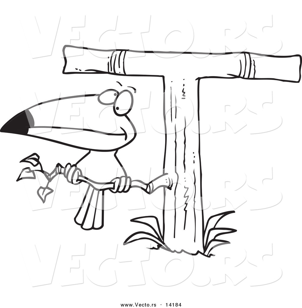 Vector Of A Cartoon Toucan Perched On A T Shaped Tree