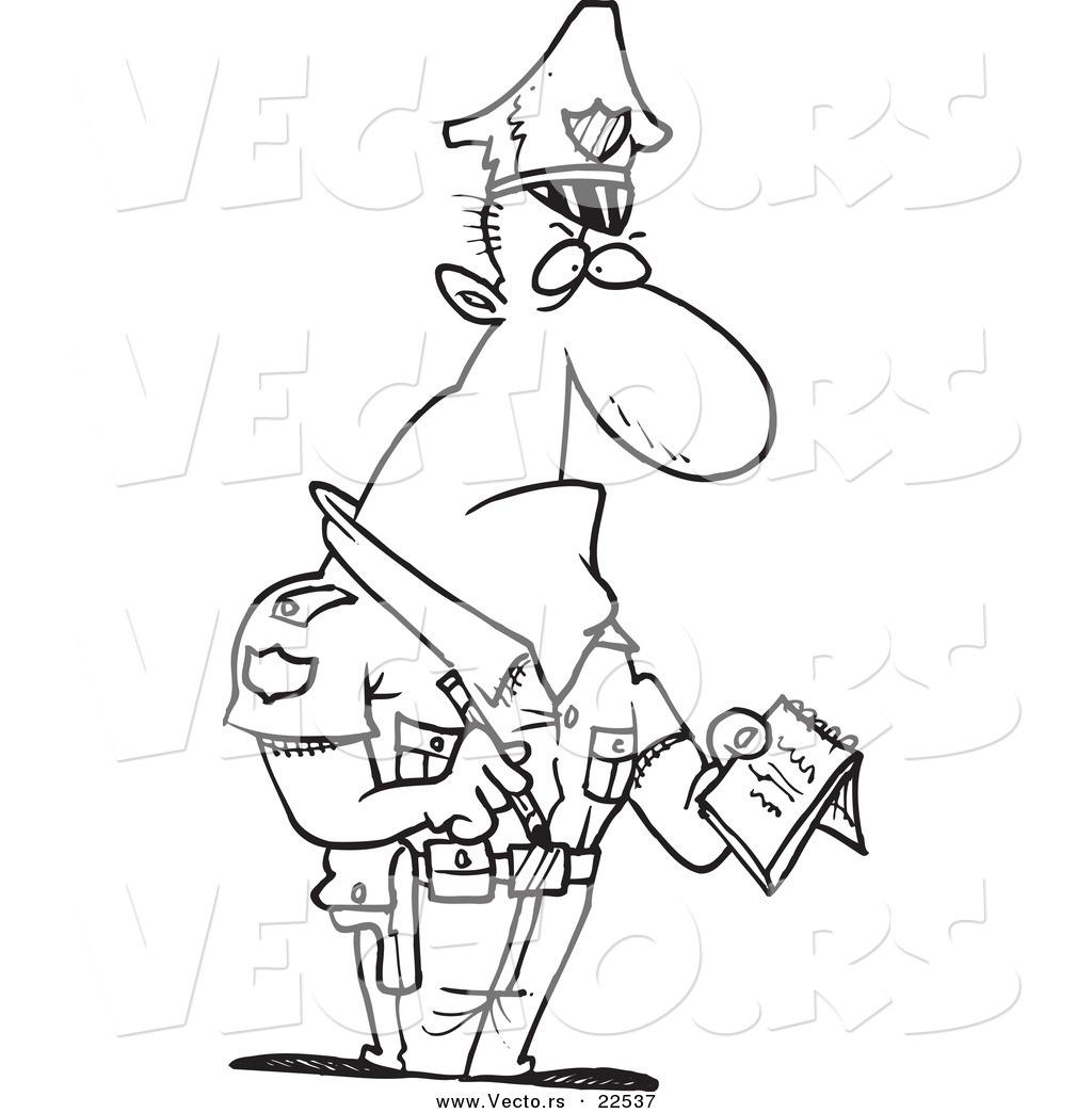 Vector Of A Cartoon Tough Cop Writing A Ticket