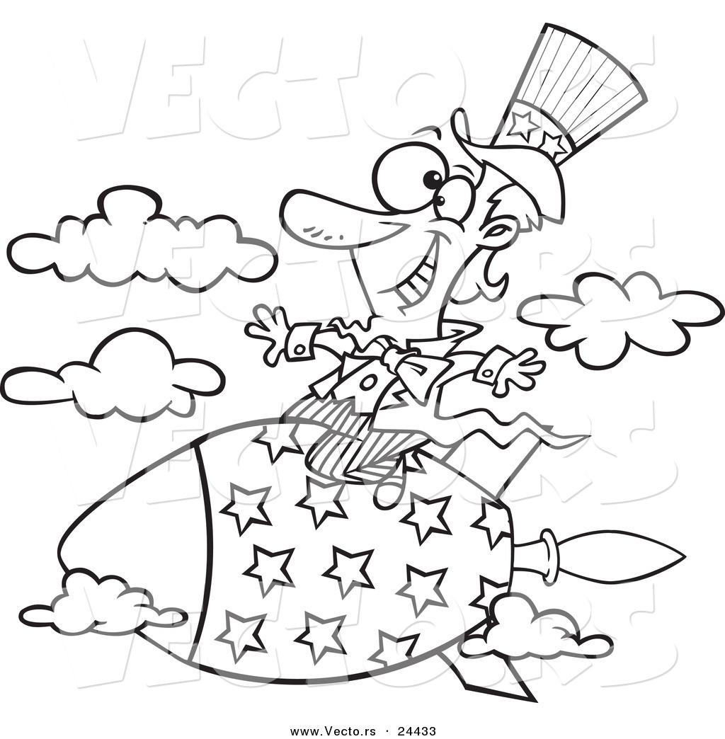 Vector Of A Cartoon Uncle Sam Riding A Rocket