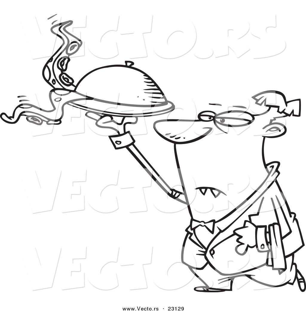 Vector Of A Cartoon Vampire Waiter