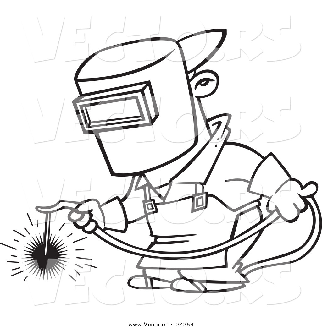 Larger Preview Vector Of A Cartoon Welder At Work
