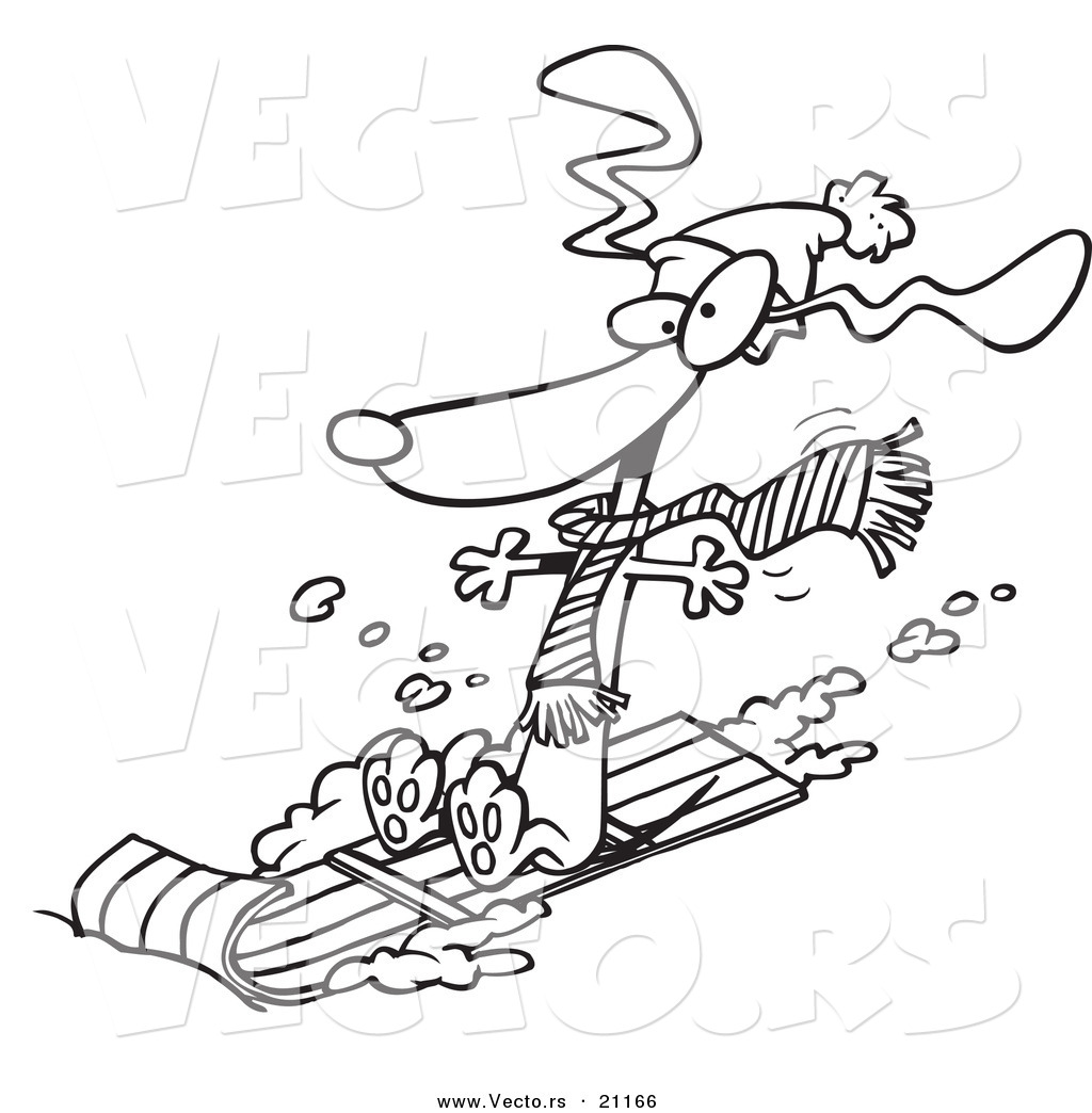 Vector Of A Cartoon Wiener Dog Sledding
