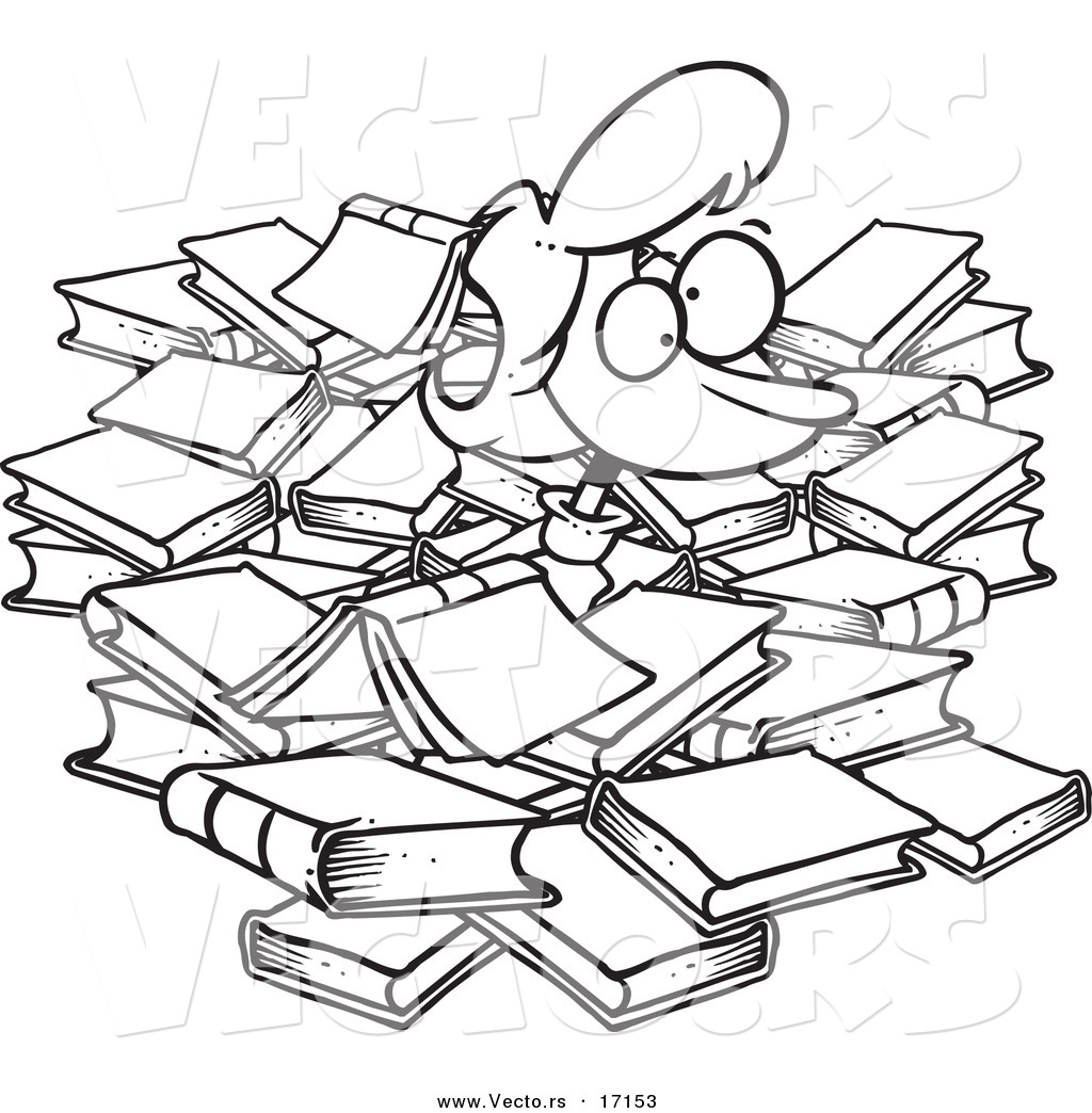 Vector Of A Cartoon Woman Buried In Books