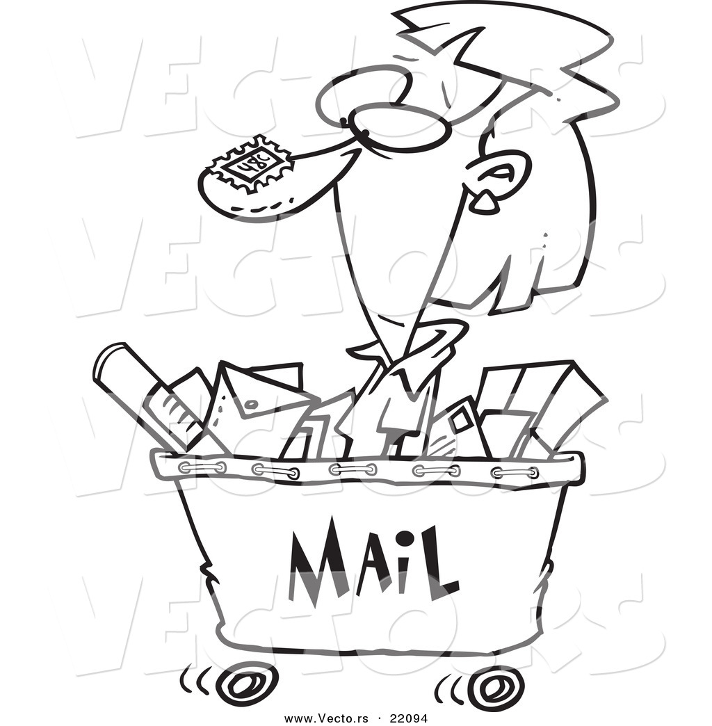 Vector Of A Cartoon Woman In A Mail Cart