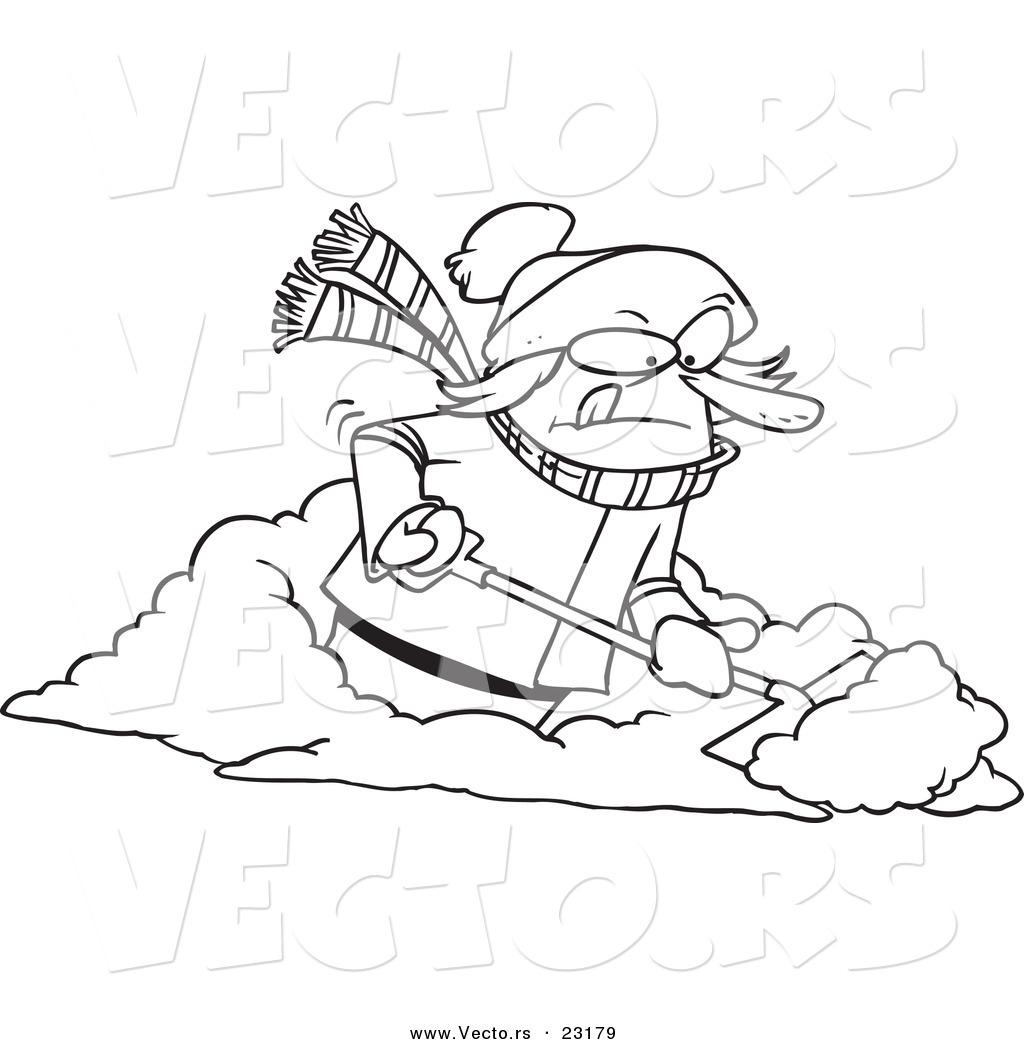 Vector Of A Cartoon Woman Shoveling Snow