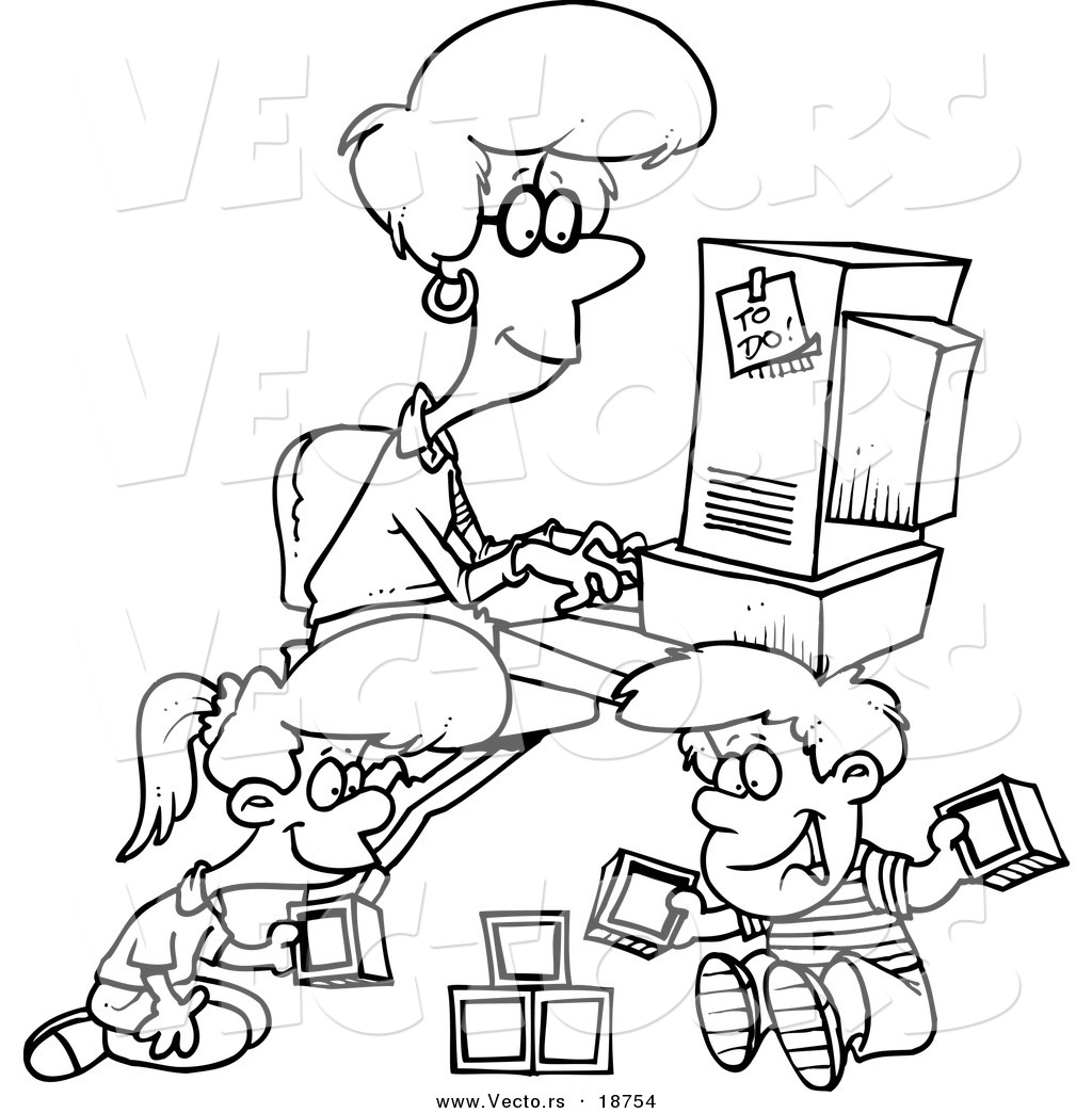 Mother Working Computer Cartoon