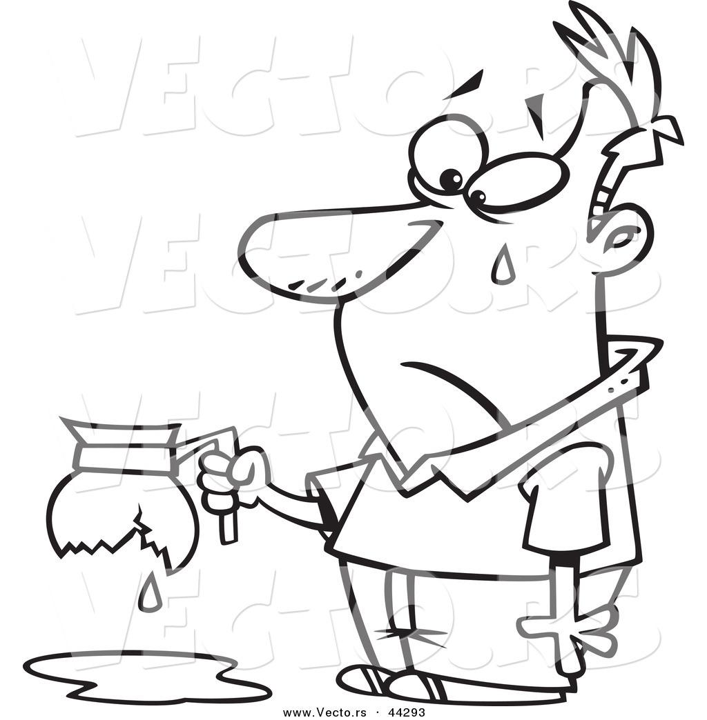 Vector Of An Upset Cartoon Tearing Man Holding A Broken