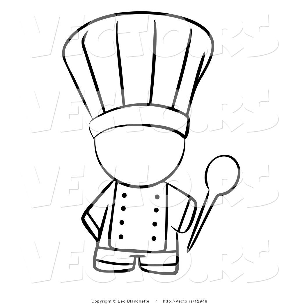 Larger Preview Vector Of Chef Holding A Mixing Spoon