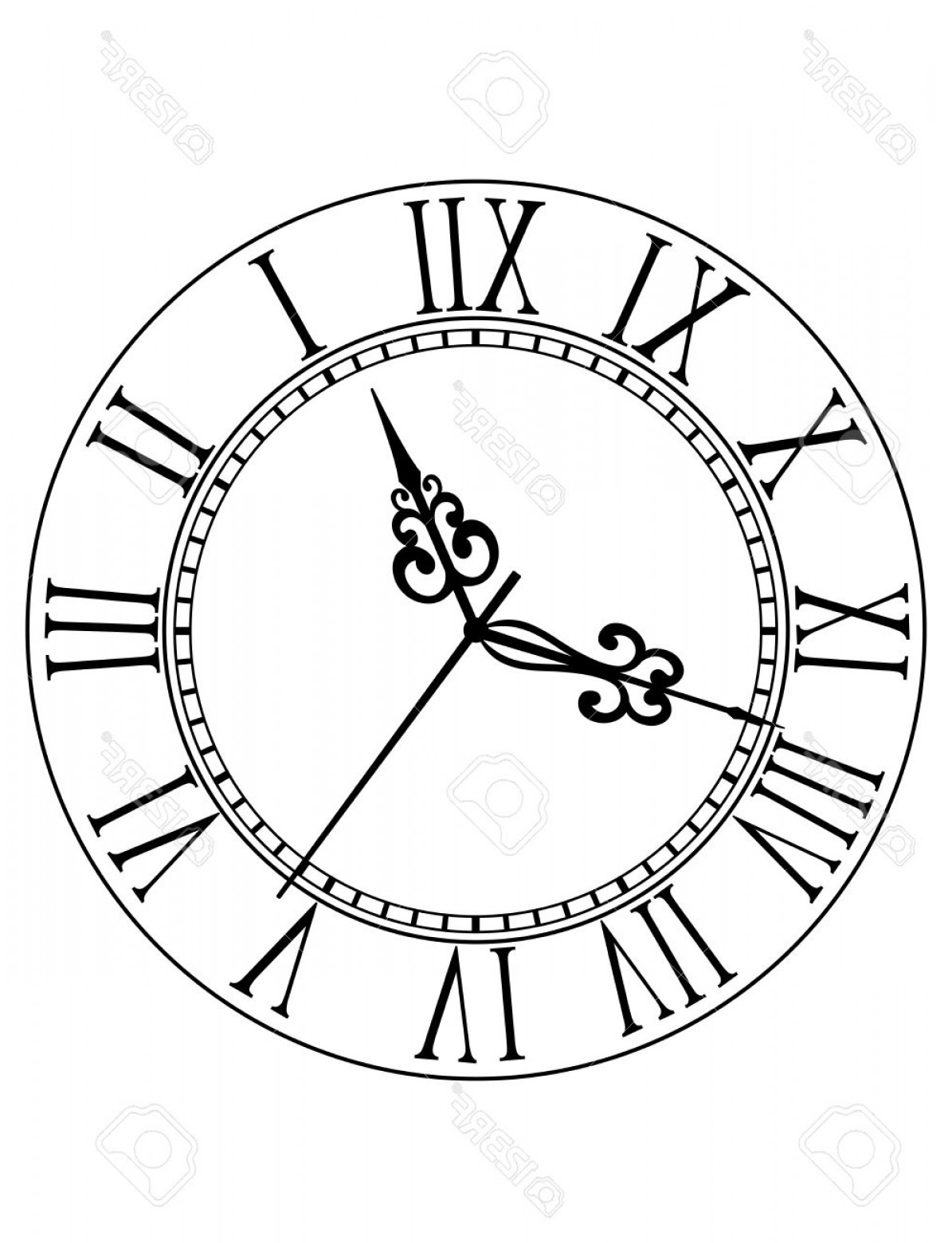 Roman Numeral Clock Face Vector At Vectorified
