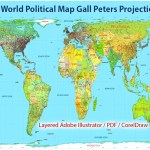 Printable World Political Map Gall Peters Projection Adobe Illustrator
