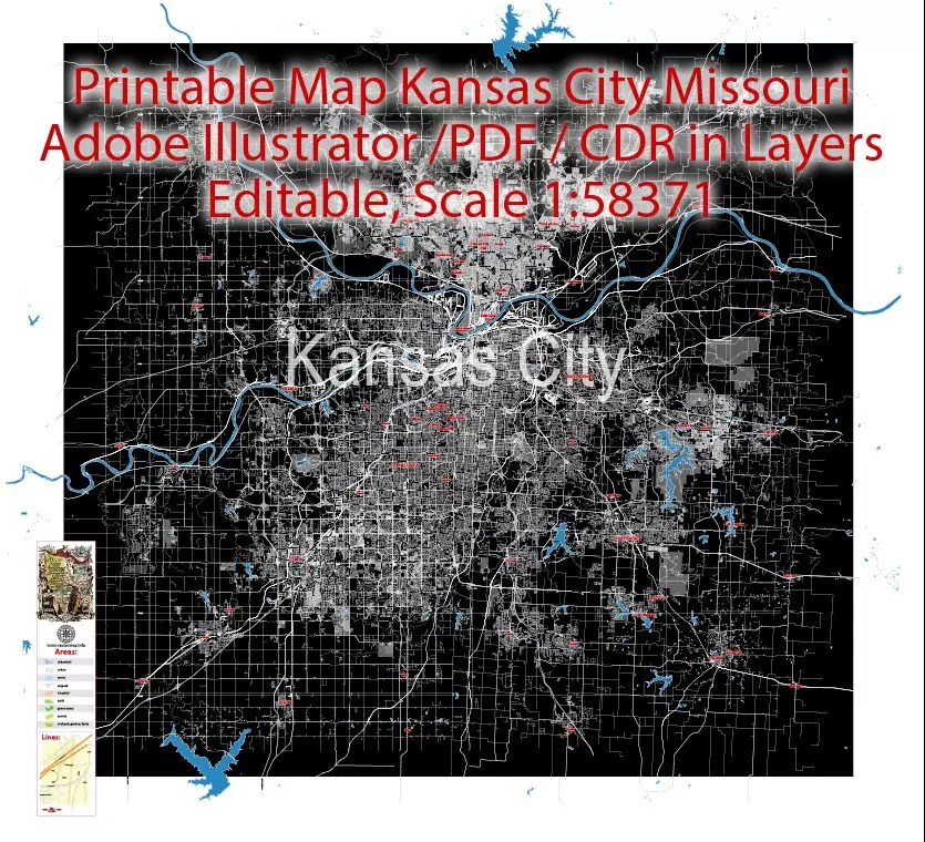 On kansas city missouri map, you can view all states, regions, cities, towns, districts, avenues, streets and popular centers' satellite, sketch and terrain maps. City Map Kansas City Vector Urban Plan Adobe Pdf Editable Street Map