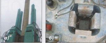 Сваи в процессе вдавливания и конструкция захвата сваи