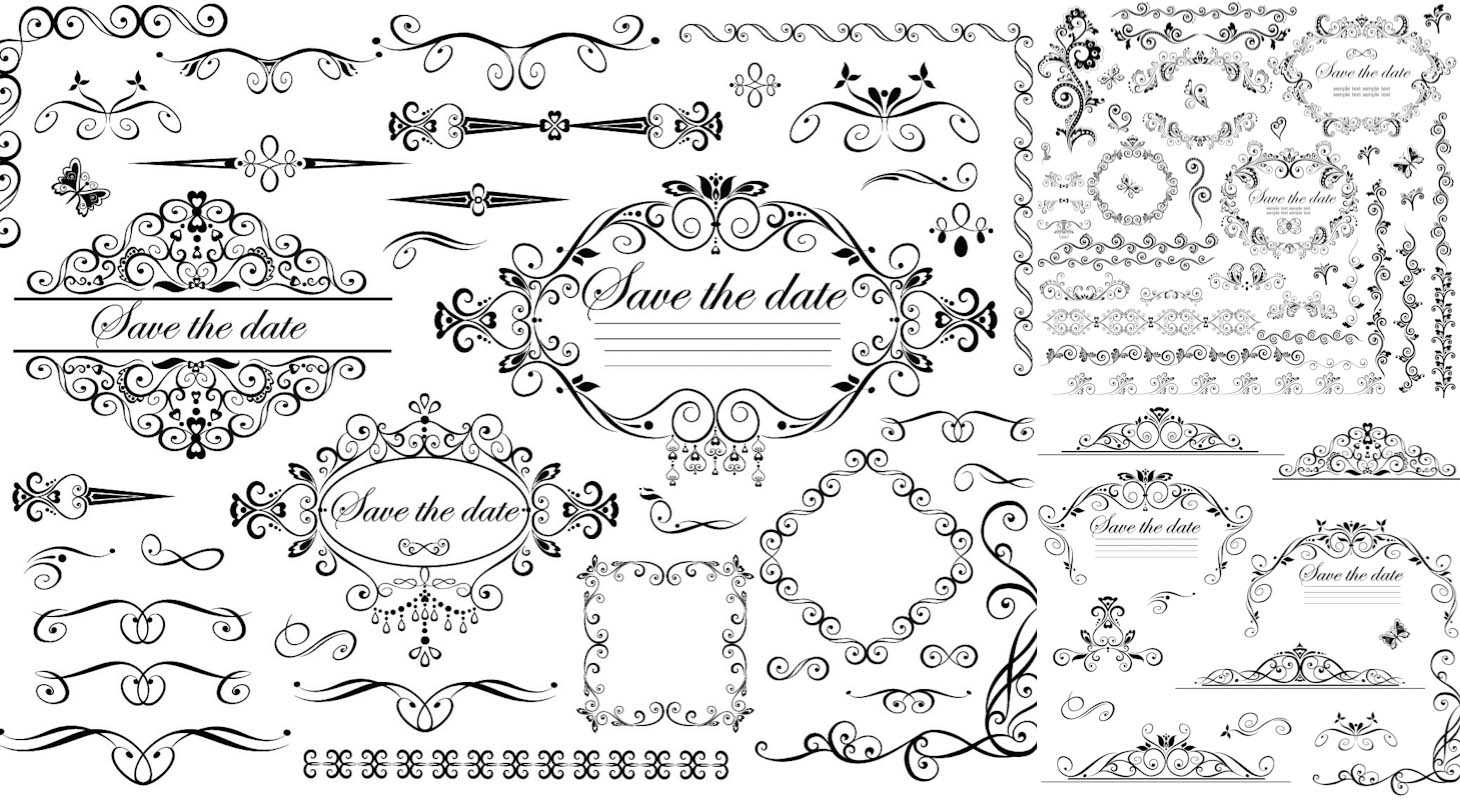 Wedding Frames With Place For Text Vector