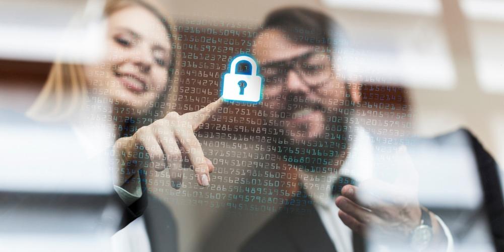 Two business people & digital lock