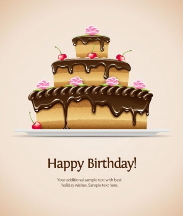 Birthday Cake Images Vektor ~ Beautiful birthday cake vector illustration ai svg eps vector